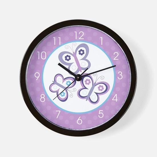 Purple Butterfly Wall Clock Wall Clock