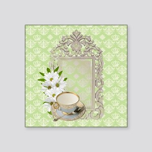 "daisy tea cup vintage Square Sticker 3"" x 3"""