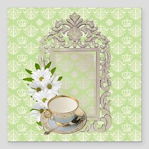 """daisy tea cup vintage Square Car Magnet 3"""" x 3"""""""