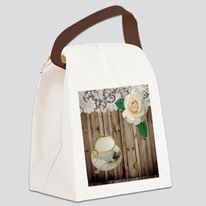 floral tea cup vintage Canvas Lunch Bag