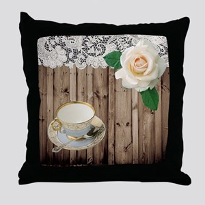 floral tea cup vintage Throw Pillow