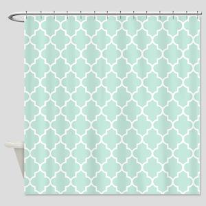 Mint Quatrefoil Shower Curtain