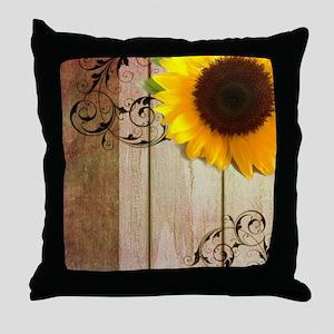 sunflower barnwood country Throw Pillow