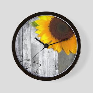 sunflower barnwood country Wall Clock
