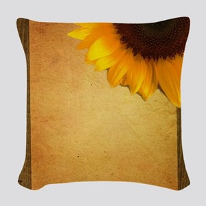 sunflower barnwood country Woven Throw Pillow