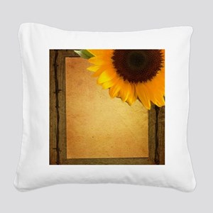 sunflower barnwood country Square Canvas Pillow