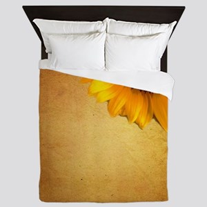 sunflower barnwood country Queen Duvet