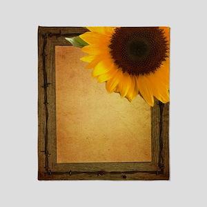 sunflower barnwood country Throw Blanket