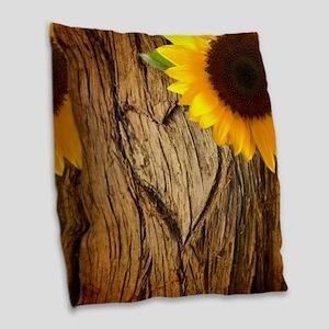 sunflower heart country Burlap Throw Pillow