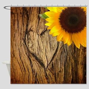 sunflower heart country Shower Curtain