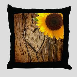 sunflower heart country Throw Pillow