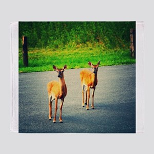 Two Watchful Deer in the Smoky Mountains Throw Bla