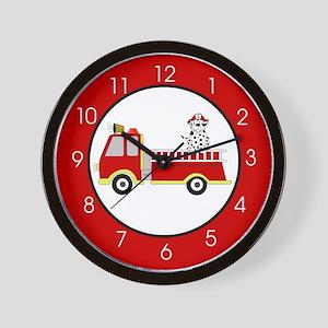 Fire Truck with Dalmatian Wall Clock