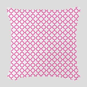 Hot Pink Quatrefoil Pattern Woven Throw Pillow