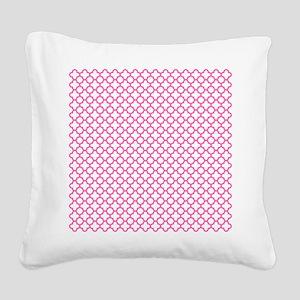 Hot Pink Quatrefoil Pattern Square Canvas Pillow