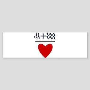Leo + Aquarius = Love Sticker (Bumper)