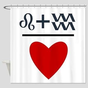 Leo + Aquarius = Love Shower Curtain