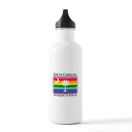 South Carolina one equality blk font Water Bottle