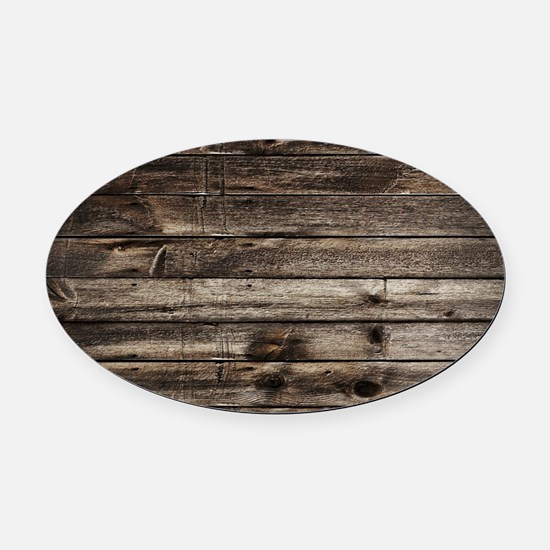 rustic barnwood western country Oval Car Magnet