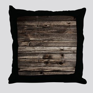 rustic barnwood western country Throw Pillow