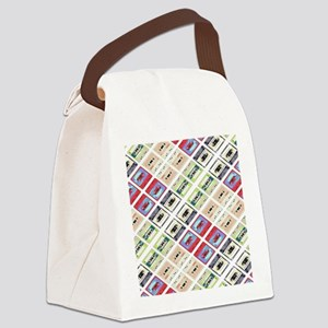 retro cassette tape funky pattern Canvas Lunch Bag