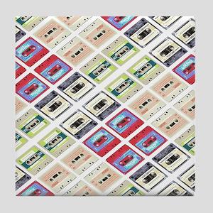 retro cassette tape funky pattern  Tile Coaster