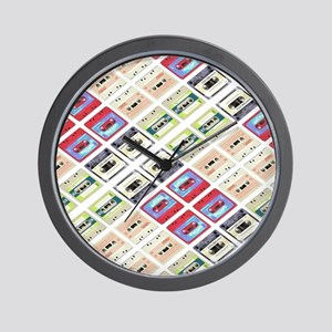 retro cassette tape funky pattern  Wall Clock