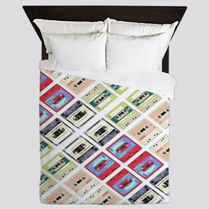 retro cassette tape funky pattern  Queen Duvet