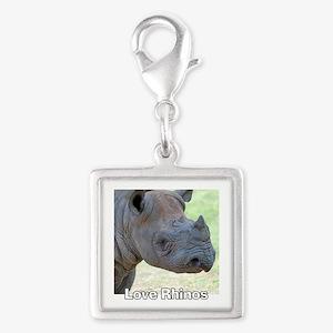 Love Rhinos Silver Square Charm