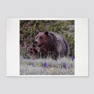Grizzly Bear# 399 and her Triplets 5'x7'Area Rug