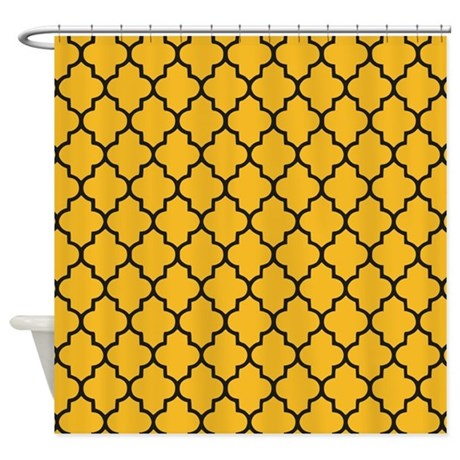 yellow and black quatrefoil shower curtain by inspirationzstore. Black Bedroom Furniture Sets. Home Design Ideas