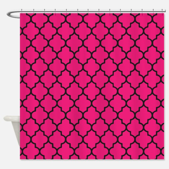 Hot Pink Gothic Quatrefoil Shower Curtain