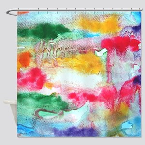 Colorful Watercolor Abstract Shower Curtain