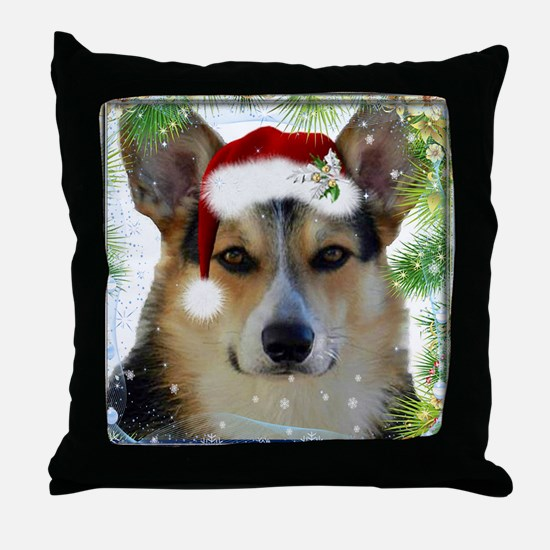 Handsome Holiday Corgi Throw Pillow