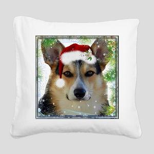 Handsome Holiday Corgi Square Canvas Pillow