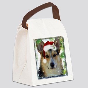 Handsome Holiday Corgi Canvas Lunch Bag