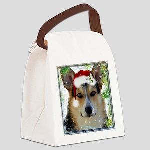 Handsome Holiday Corgi Canvas Lunch Bag