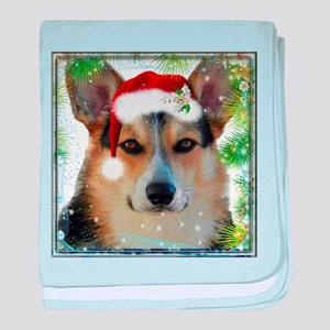 Handsome Holiday Corgi baby blanket