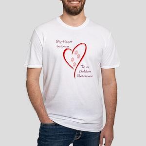 Golden Retriever Heart Belongs Fitted T-Shirt