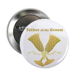 Golden Father of the Groom Button