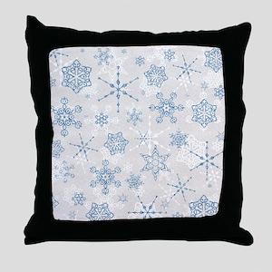 Elegant Blue and Silver Snowflake Glitz Print Thro