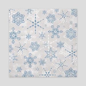 Elegant Blue and Silver Snowflake Glitz Print Quee