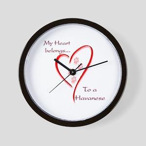 Havanese Heart Belongs Wall Clock
