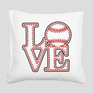 Love Baseball Classic Square Canvas Pillow