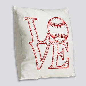 Love Baseball Laces Light Burlap Throw Pillow