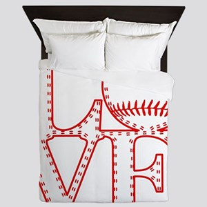 Love Baseball Laces Light Queen Duvet