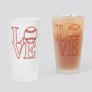 Love Baseball Laces Light Drinking Glass