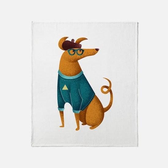 Brown Dog from Paris Throw Blanket