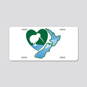 MAP of NEW ZEALAND with kiwi bird heart Aluminum L