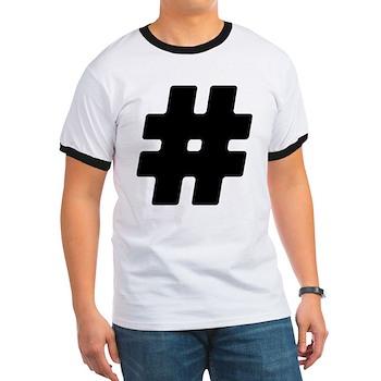 Black #Hashtag Ringer T-Shirt